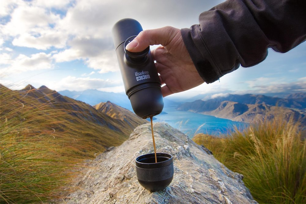 Minipresso being used in the mountains
