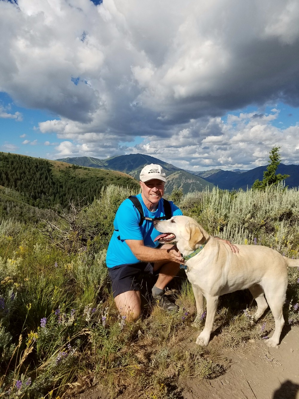 Ned Port hiking with his dog